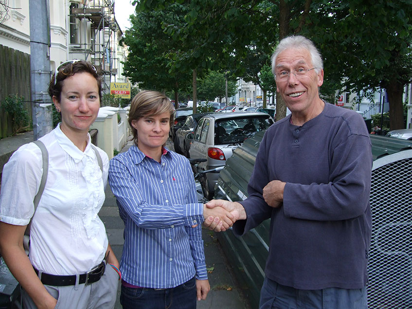 Abby Hone, Principal Transport Planner, Brighton & Hove City Council with Frauke Behrendt, Project Leader, Smart e-bikes Research Project and Chris Sevink, Chair of the Ditchling Rise Area Residents Association