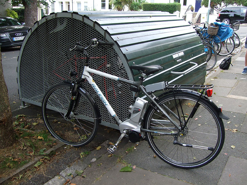 One of the Smart e-bikes Project's bikes by the Bikehangar on Shaftesbury Road